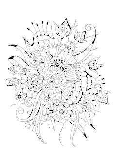 抽象的な花とつぼみでページを着色します。黒と白のイラスト。