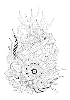 Coloring page with abstract flowers and long leaves. black and white vector background.