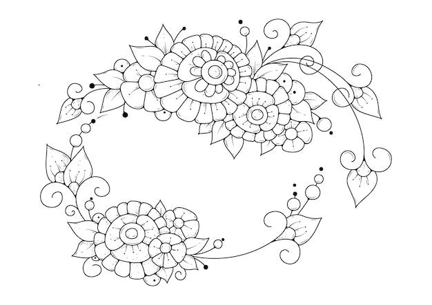 抽象的な花でページを着色