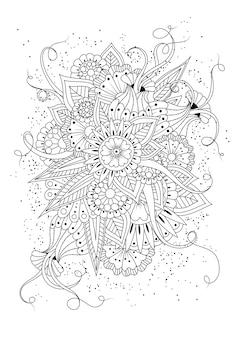 抽象的な丸い花とつぼみの着色のページ。黒と白のイラスト。