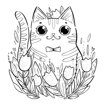 Coloring page with cartoon cat with tulips.