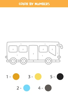 Coloring page with cartoon city bus. color by numbers. math game for kids.
