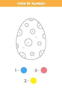 漫画のイースターエッグでページを着色します。数字で色分け。子供のための数学のゲーム。
