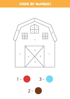 Coloring page with cartoon farmhouse. color by numbers.