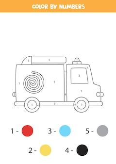 漫画の消防車でページを着色します。数字で色分け。子供のための数学のゲーム。