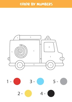 coloring page with cartoon fire truck. color by numbers. math game for kids.