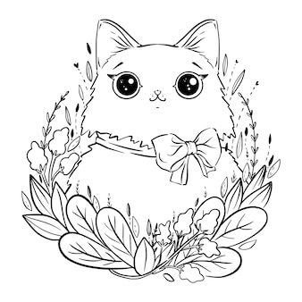Coloring page with cartoon fluffy cat with flowers and bow. coloring page
