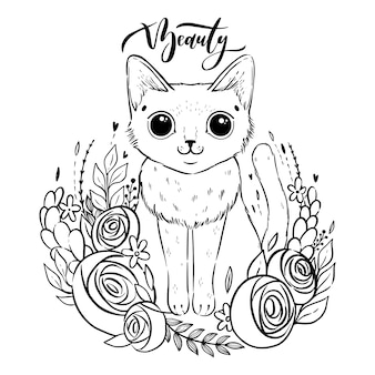 Coloring page with cartoon fluffy cat with roses. siamese cat with open eyes and flowers.