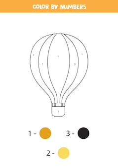 Coloring page with cartoon hot air balloon. color by numbers. math game for kids.
