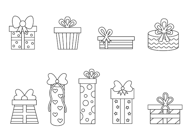 Coloring page with cartoon present boxes. set of black and white gifts.