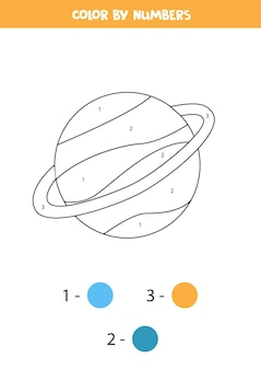 Coloring page with cartoon saturn planet. color by numbers. math game for kids.