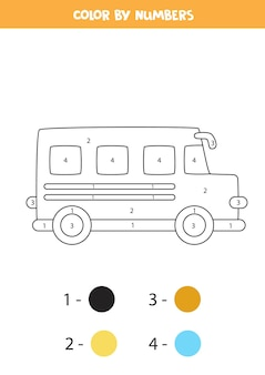 Coloring page with cartoon school bus. color by numbers. math game for kids.
