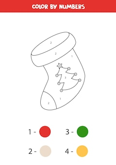 Coloring page with christmas sock by numbers educational math game for kids