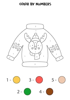 Coloring page with christmas ugly sweater. color by numbers. math game for kids.