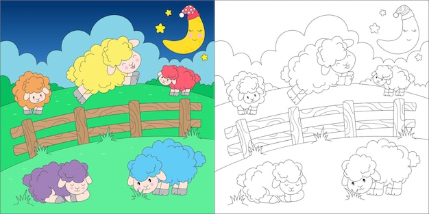 Coloring page with counting sheeps