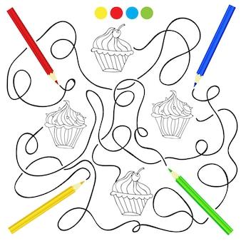 아이들을 위한 컵케이크 그리기 게임이 있는 색칠 공부 페이지. 아이들을 위한 색칠 퍼즐
