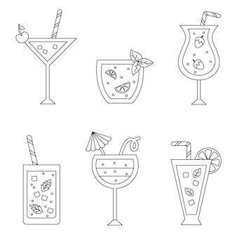 Coloring page with cute black and white summer cocktails.