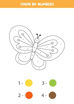 Coloring page with cute butterfly. color by numbers. math game for kids.