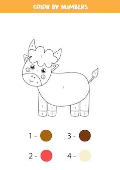 귀여운 만화 황소 색칠 페이지. 숫자로 색상 지정. 아이들을위한 수학 게임.