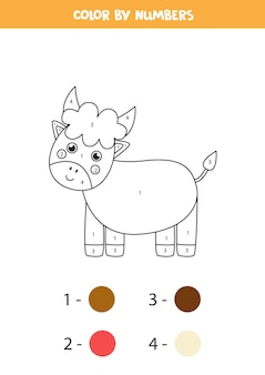 Coloring page with cute cartoon bull. color by numbers. math game for kids.