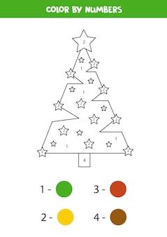 かわいい漫画のクリスマスツリーでページを着色します。数字で色分け。子供のための教育数学ゲーム。