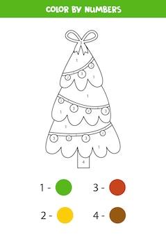 かわいい漫画のクリスマスツリーとぬりえ。数字で色分け。子供のための教育数学ゲーム。