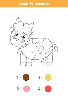 かわいい漫画の牛のぬりえ。数字で色分け。