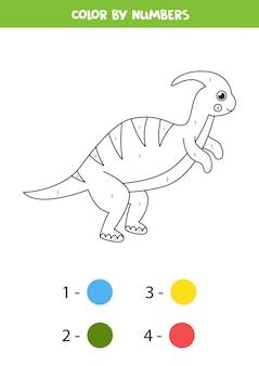 かわいい漫画の恐竜のぬりえ。数字で色分け。