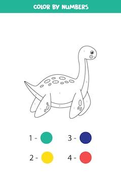 Раскраска с милым мультяшным динозавром. раскрашиваем по номерам.
