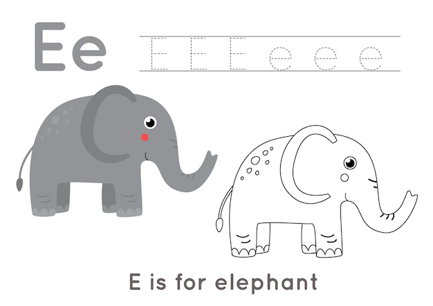 Coloring page with cute cartoon elephant. alphabet tracing worksheet with letter e. handwriting practice for kids.