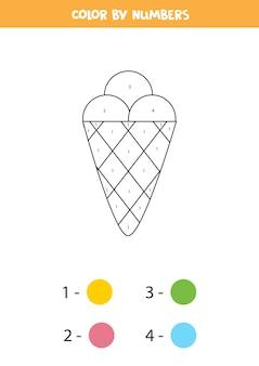 かわいい漫画のアイスクリームコーンでページを着色します。数字で色分け。子供のための数学のゲーム。