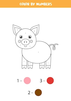 Coloring page with cute cartoon pig color by numbers math game for kids