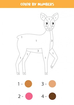 Coloring page with cute cartoon roe deer. color by numbers.
