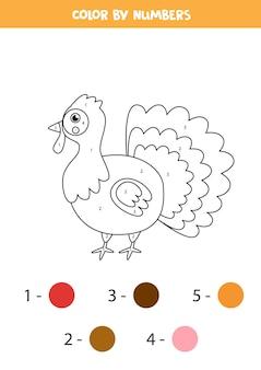 かわいい漫画の七面鳥のぬりえ。数字で色分け。