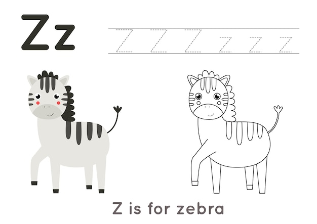 Coloring page with cute cartoon zebra. alphabet tracing worksheet with letter z. handwriting practice for kids.