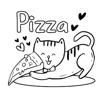 Coloring page with cute cat holding pizza