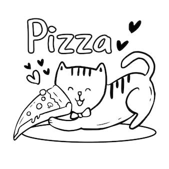 피자를 들고 귀여운 고양이 색칠 페이지