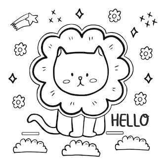 꽃 모자를 쓰고 귀여운 고양이 색칠 페이지. 여보세요