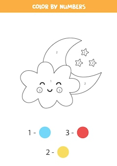 Coloring page with cute cloud and moon. color by numbers. math game for kids.