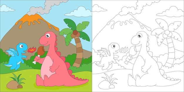 Coloring page with cute dragon
