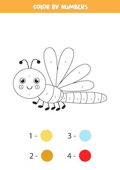 Раскраска с милой летающей стрекозой. раскрашиваем по номерам. математическая игра для детей.