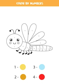 Coloring page with cute flying dragonfly. color by numbers. math game for kids.