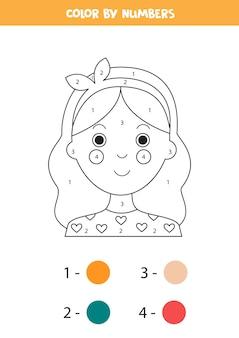 귀여운 소녀 얼굴로 색칠 페이지. 숫자로 색상 지정. 아이들을위한 수학 게임.
