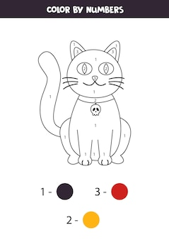 Coloring page with cute halloween cat. color by numbers. math game for kids.