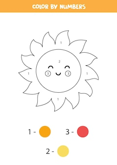 Coloring page with cute kawaii sun. color by numbers. math game for kids.