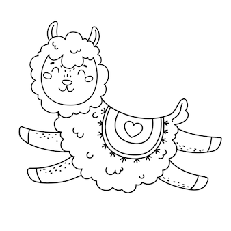 Coloring page with cute llama for kids vector black line illustration