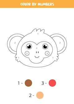 かわいい猿の顔のぬりえ。数字で色分け。子供のための数学のゲーム。