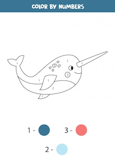 Coloring page with cute narwhal. color by numbers.