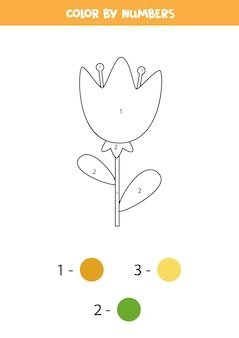 かわいい春の花のぬりえ。数字で色分け。子供のための数学のゲーム。