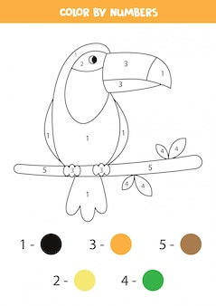 Coloring page with cute toucan. math game for kids.